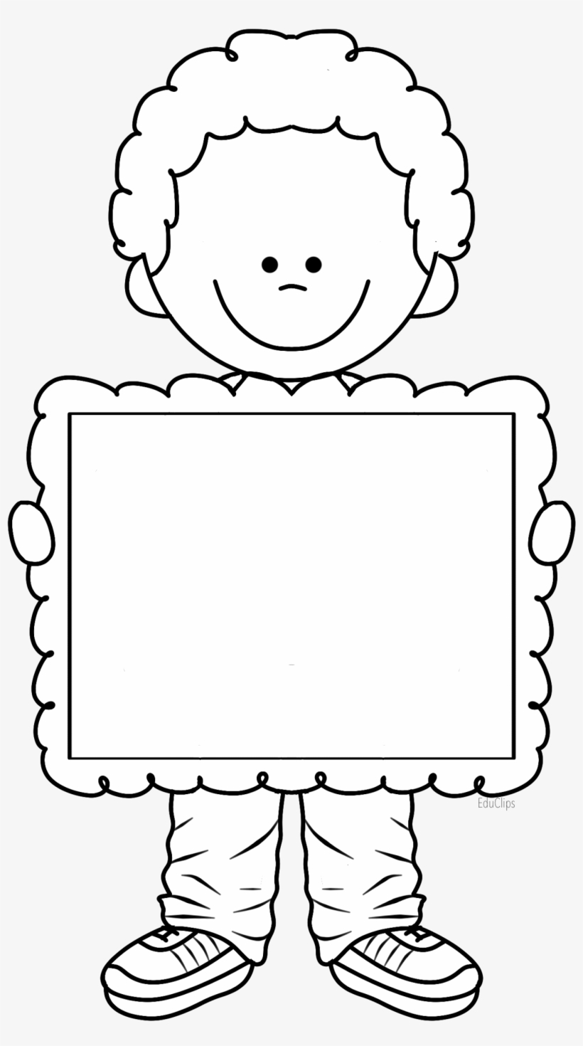 Cute Boy Holding Frame, There's Space To Write Title - Cute Kid Clipart Black And White, transparent png #4307171
