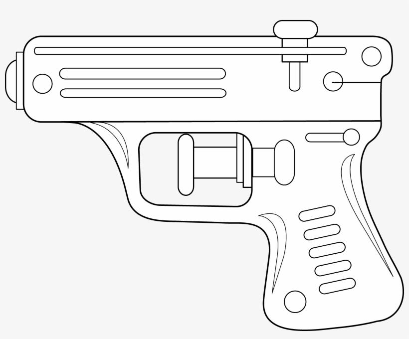 Gun Clipart Line Drawing - Water Gun Line Drawing, transparent png #4311837