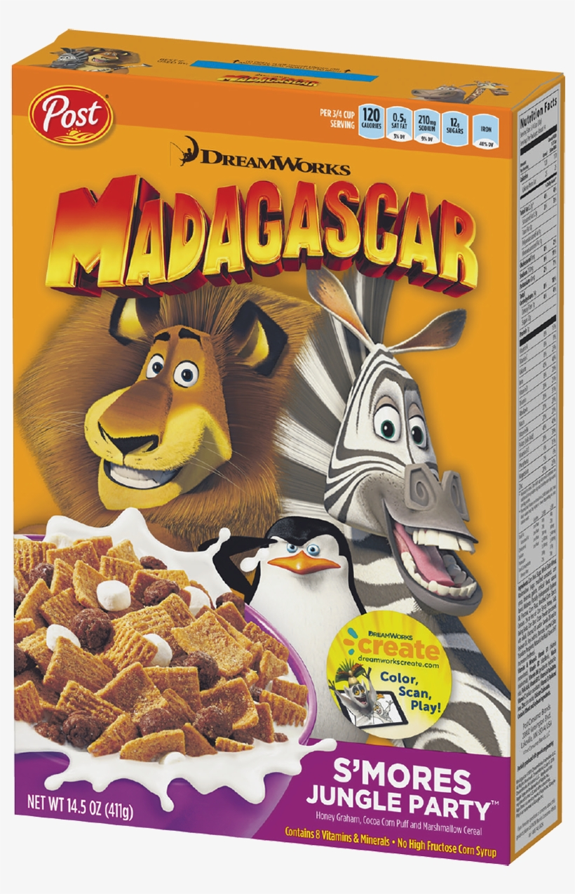 Box Of Dreamworks Madagascar S'mores Jungle Party Cereal - Malt O Meal Cereal, S'mores - 12 Oz, transparent png #4317715