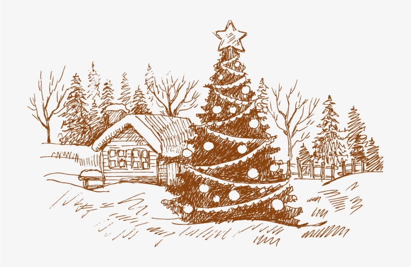 Image Royalty Free Download Card Drawing House - Christmas Cards Drawings Tree, transparent png #4318790