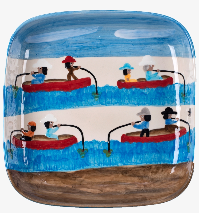 Gone Fishing Square Bowl - Clementine Hunter, transparent png #4319052