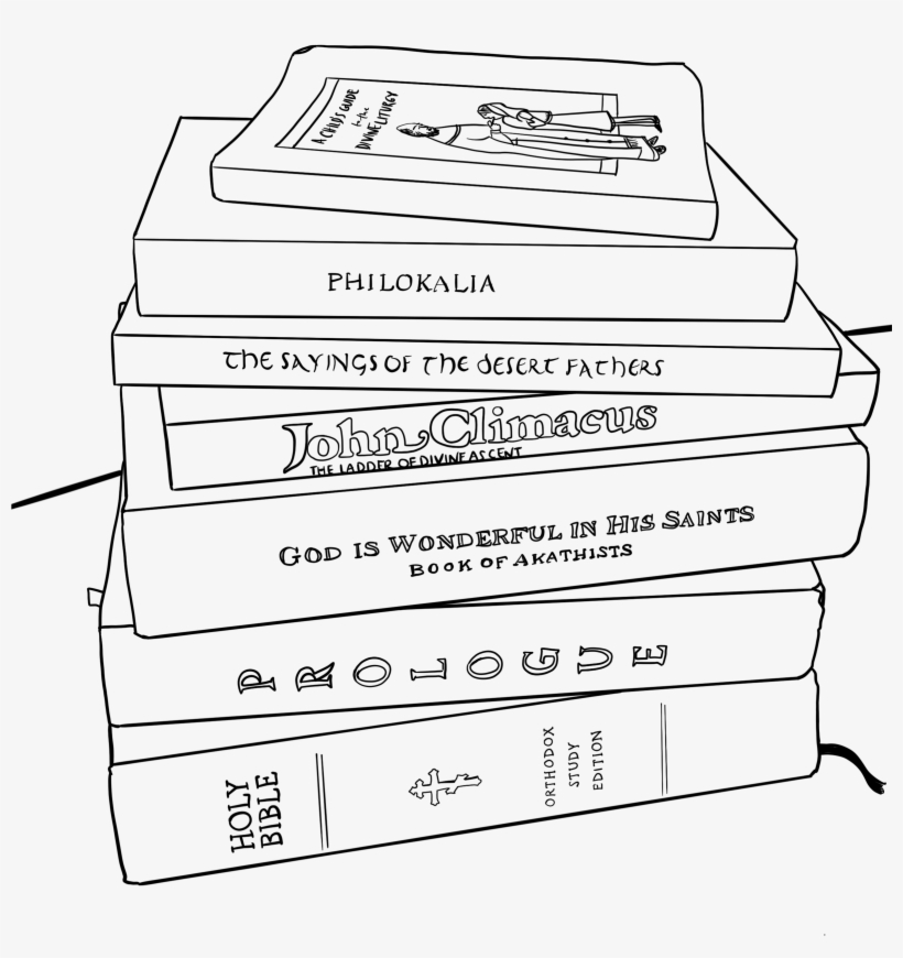Line Drawing Of The Pile Of Orthodox Books - Book, transparent png #4323288