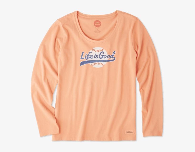 Women's Baseball Script Long Sleeve Crusher Scoop - Long-sleeved T-shirt, transparent png #4325213