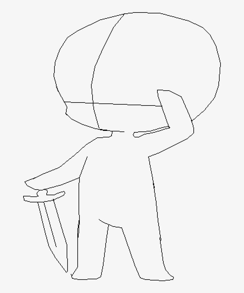Chibi with sword base line art