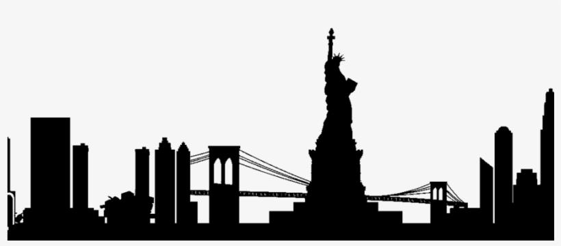 New York Silhouette Png Clipart Manhattan Skyline - Nyc Skyline Silhouette Png, transparent png #4344724