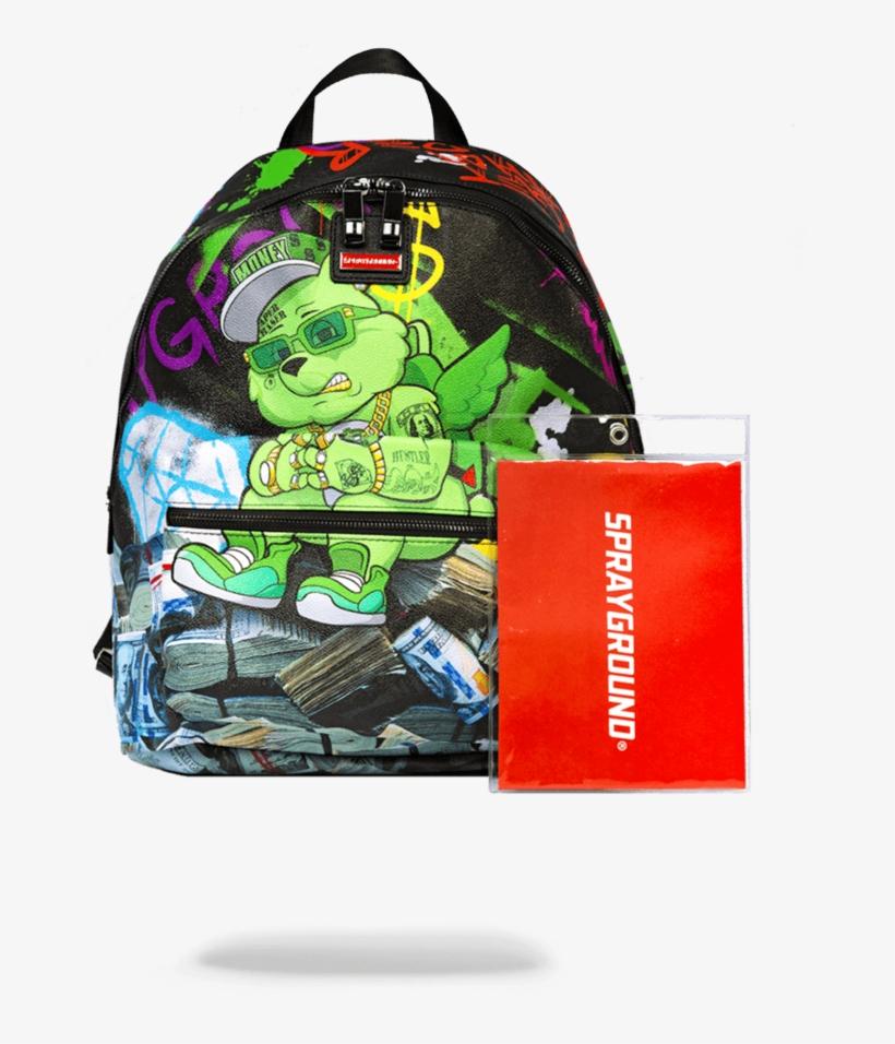 Sprayground Money Bear Stacks Backpack, transparent png #4349275