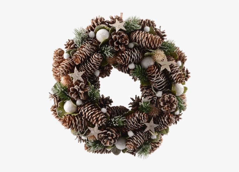 "13"" Pine Cone Wreath • $26 - Kaemingk 33cm Pinecone Wreath With Snow Balls - 622265, transparent png #4352191"
