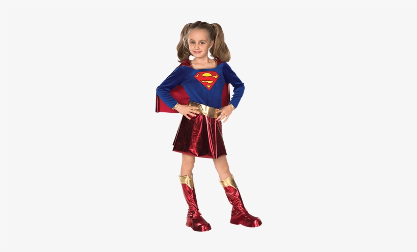 Girls Supergirl Costume - Super Girl Costume For Kids, transparent png #4352706