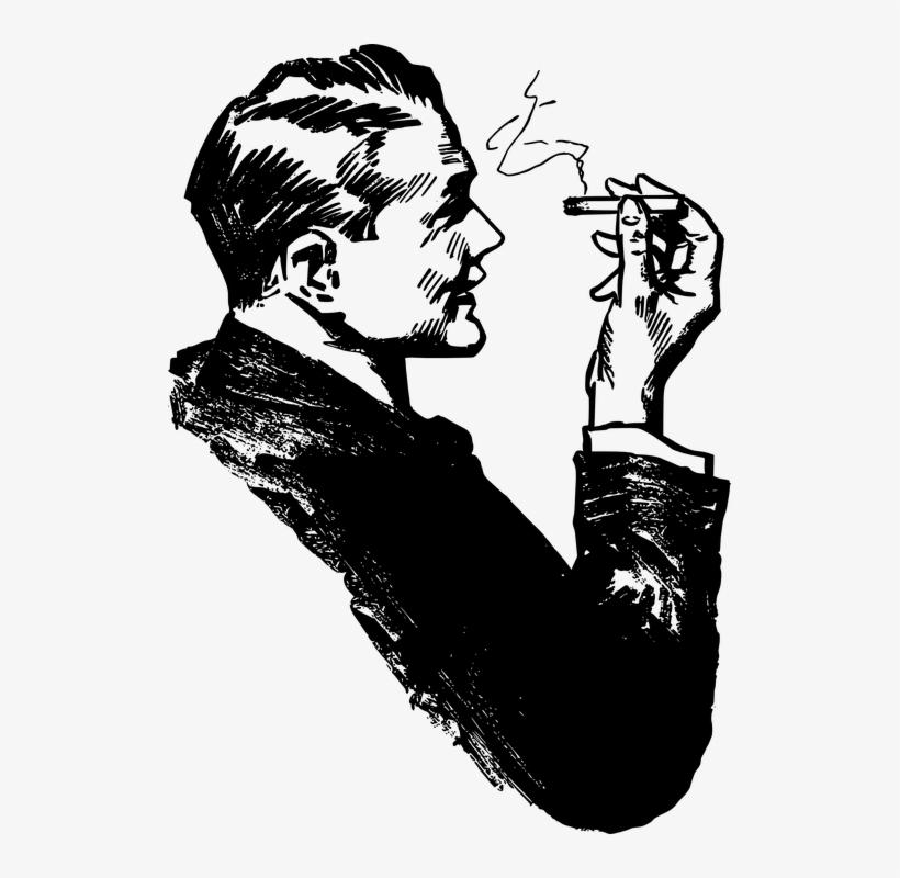 Drawn Cigarette Male Smoking - Smoking Man Clip Art, transparent png #4372918