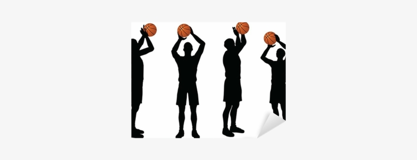 Basketball Players Silhouette Collection In Free Throw - Basketball, transparent png #4377458