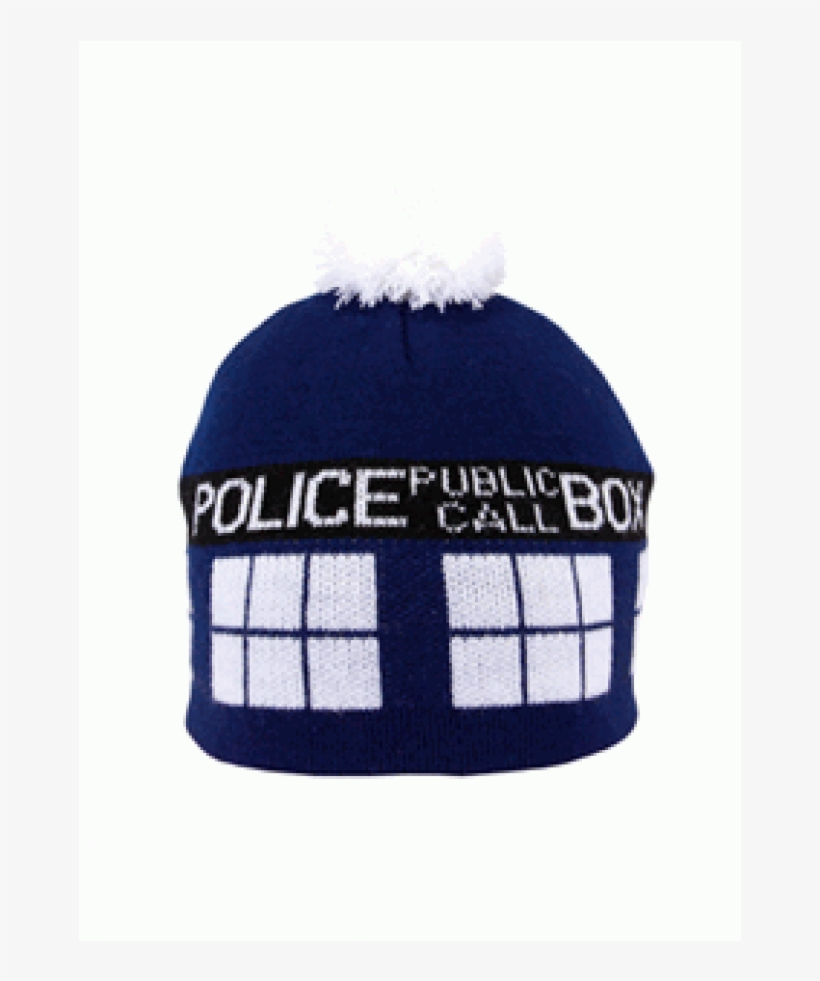 Tardis Doctor Who Knit Beanie At Cosplay Costume Closet - Adult Tardis Pom Beanie, transparent png #4395643