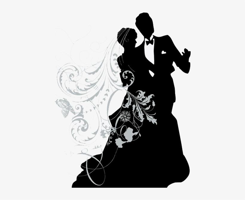 Силуэт жениха и невесты для открытки