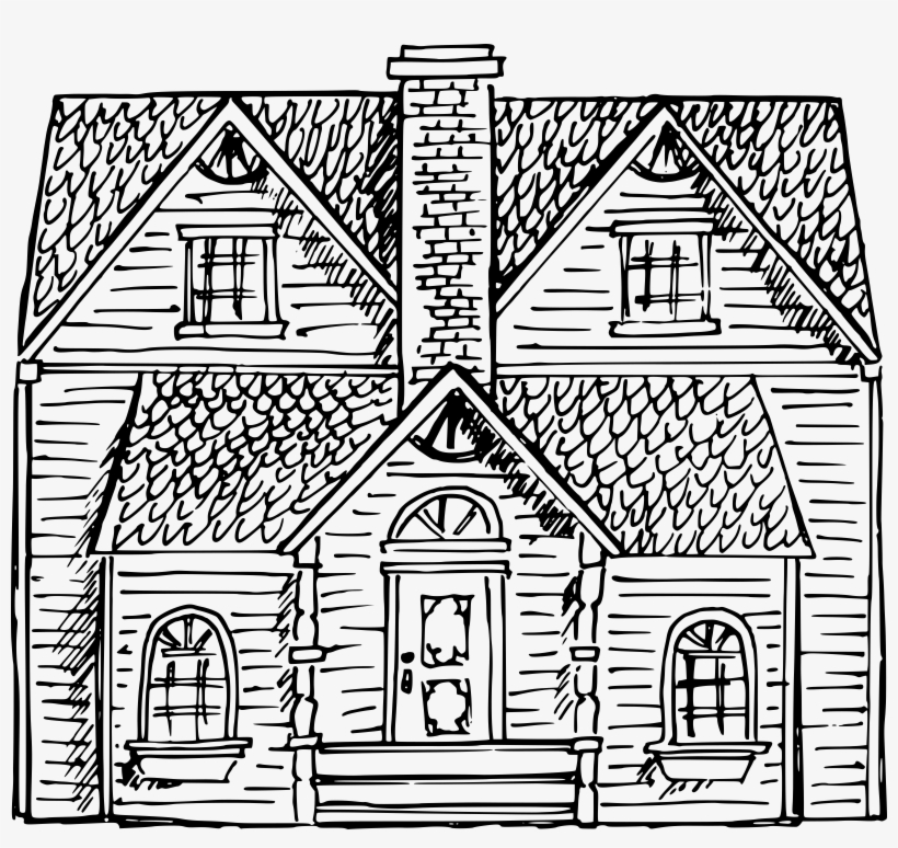 White House Black And White Clip Art - Victorian House Drawing, transparent png #446562
