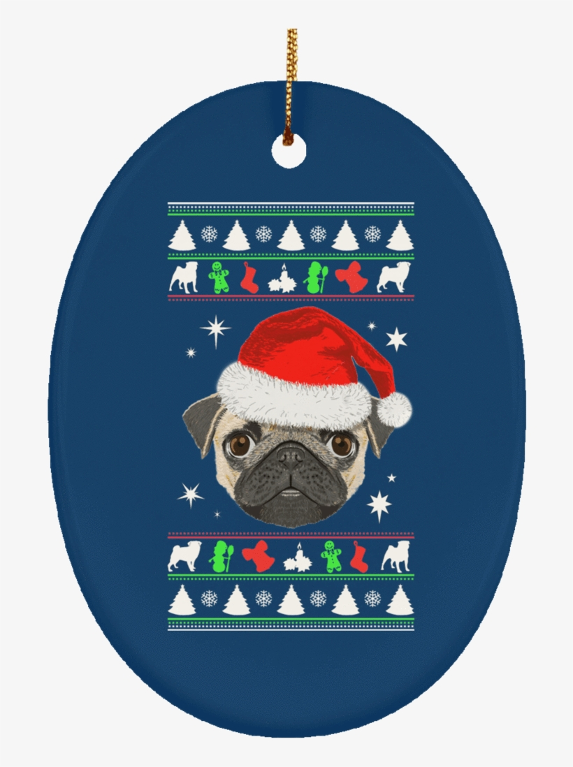 Pug Face Christmas Ornaments - Pug Dog Merry Christmas And Happy New Year T Shirt, transparent png #449584