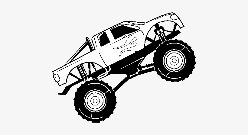 Bigfoot Car Coloring Page - Drawing Of Monster Truck, transparent png #4405316