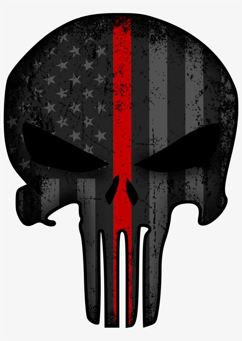 Punisher Thin Red Line Decal - Thin Blue Line Punisher Background Transparent, transparent png #4407985