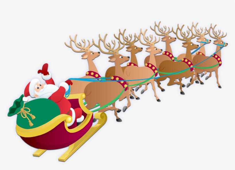 Santa Claus And His Reindeers, transparent png #4422846