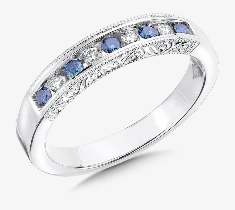 Sdc Creations Channel Set Blue & White Diamond Anniversary - Engagement Ring, transparent png #4436512