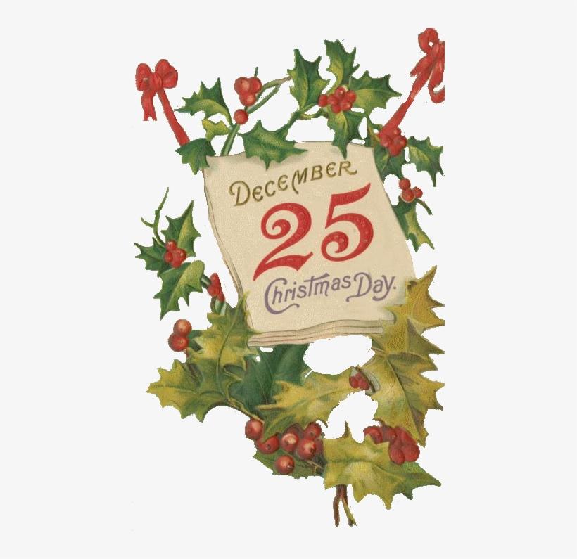 Zoom Diseño Y Fotografia Christmas Vintage Adornos - Old Vintage Christmas Postcards Holly, transparent png #4440970