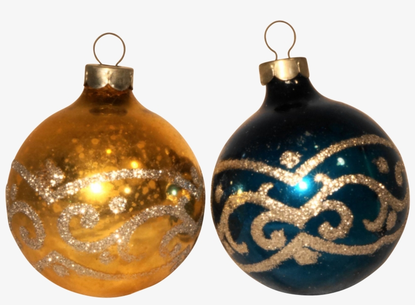 Silver Glitter Christmas Ornaments - Christmas Balls Blue Gold, transparent png #4441838
