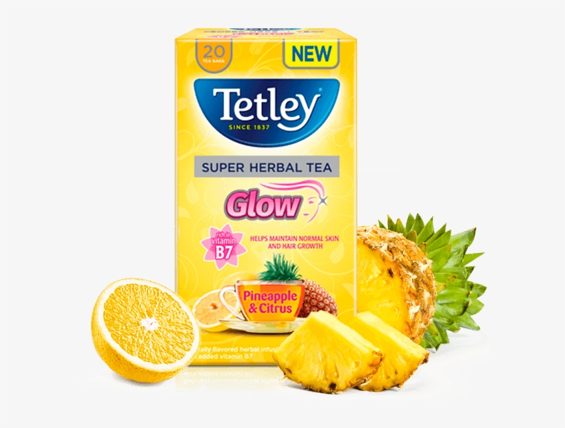 Glow Pineapple And Citrus With Vitamin B7 - Tetley Super Fruits Tea Mind Exotic Fruits, transparent png #4444949
