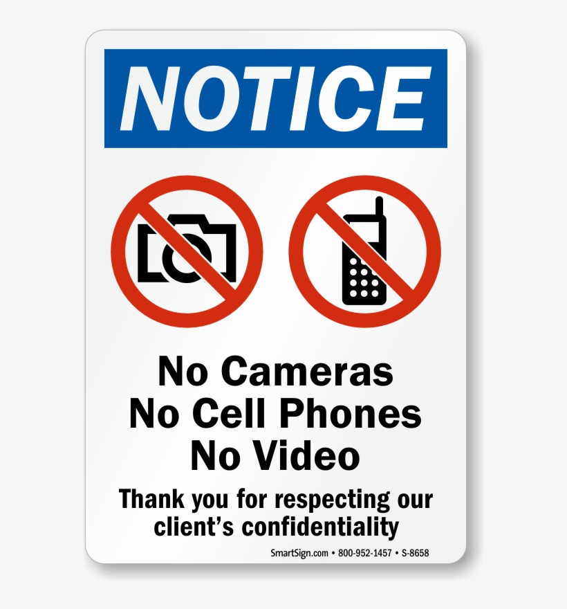No Cell Phones Sign - No Cell Phone Or Camera Sign, transparent png #4454779