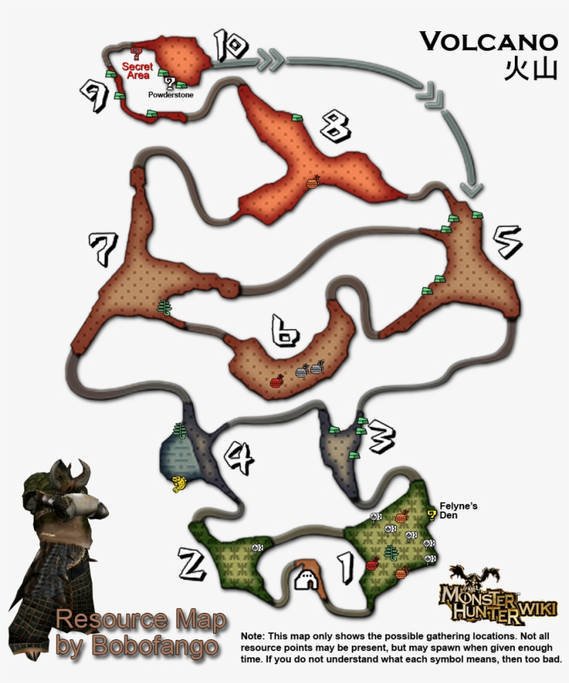 Why No Volcano Resource Map In The Faqs Section - Monster Hunter Portable 3rd Volcano Resource Map, transparent png #4460461