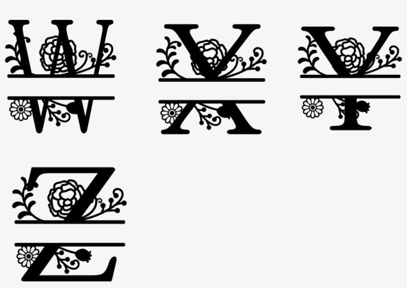 Monogrammed Split Floral Letters Vinyl Decal - Floral Letter Png