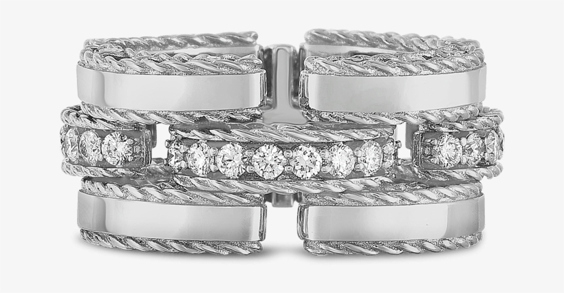 Roberto Coin 18k White Gold Retro Link Ring With Diamonds - Diamond Link Ring, transparent png #4477864