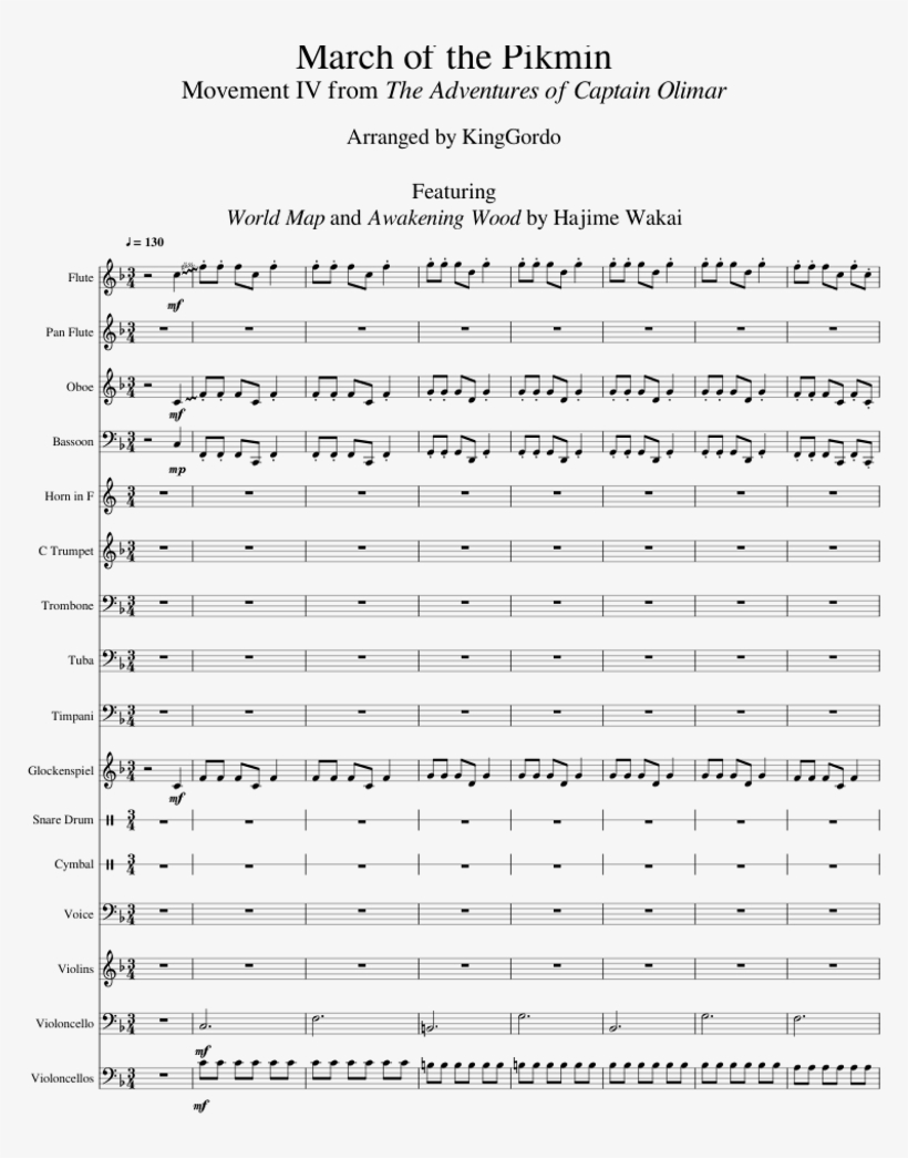 March Of The Pikmin Sheet Music For Flute, Other Woodwinds, - Pikmin Area Select Sheet Music, transparent png #4478467