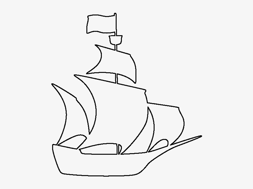 Pirate Ship Pattern - Outline Of A Pirate Ship, transparent png #4486150