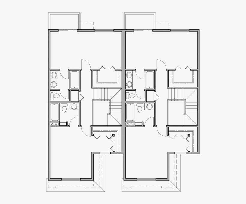 Two Story Duplex House Plans, 2 Bedroom Duplex House - House, transparent png #4498434