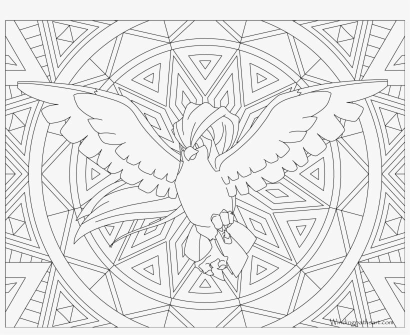 Pokemon Coloring Page 018 Roucarnage Coloring Pages - Mandalas De Pokemon Para Colorear, transparent png #450624