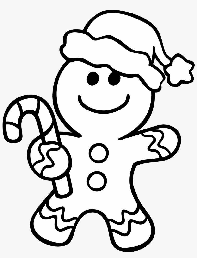 Gingerbread Man Outline - Christmas Coloring Pages Gingerbread Man, transparent png #457614