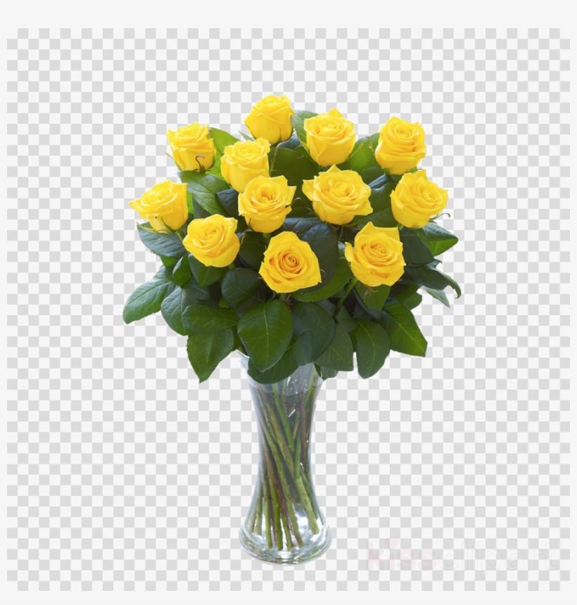 Download Elegant Red Roses Vase Arrangement Clipart - Yellow Roses In Vase, transparent png #4544974