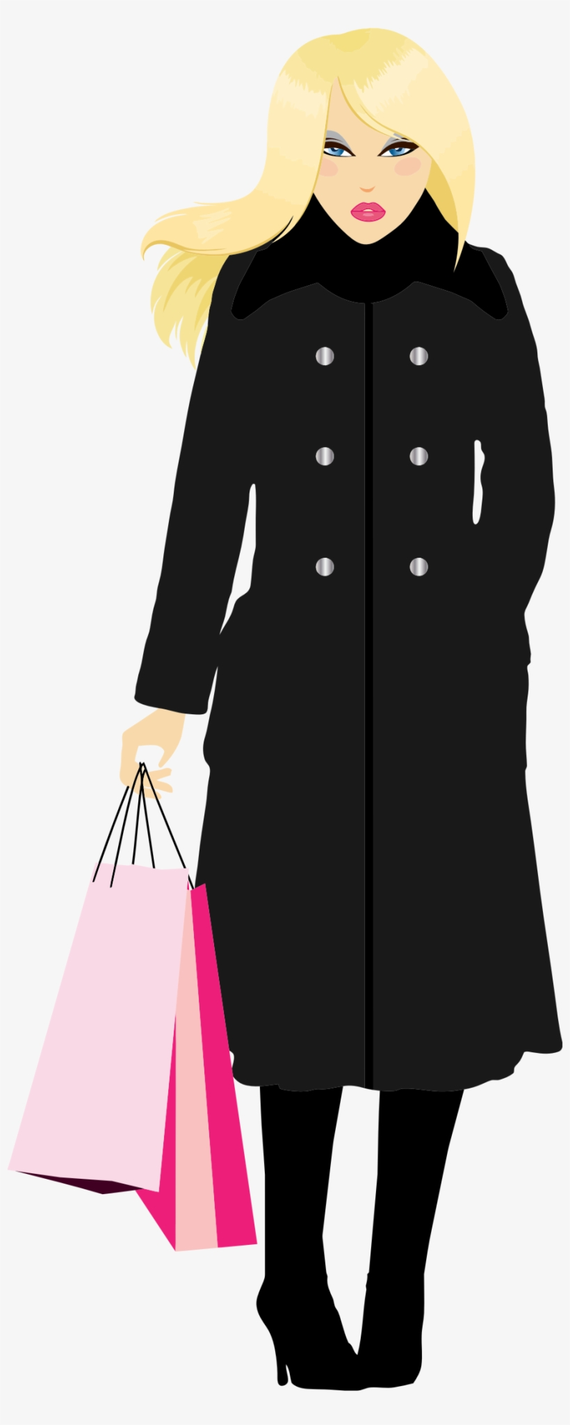 Svg Black And White Library Shopping Big Image Png - Woman In Trenchcoat Png, transparent png #4550271