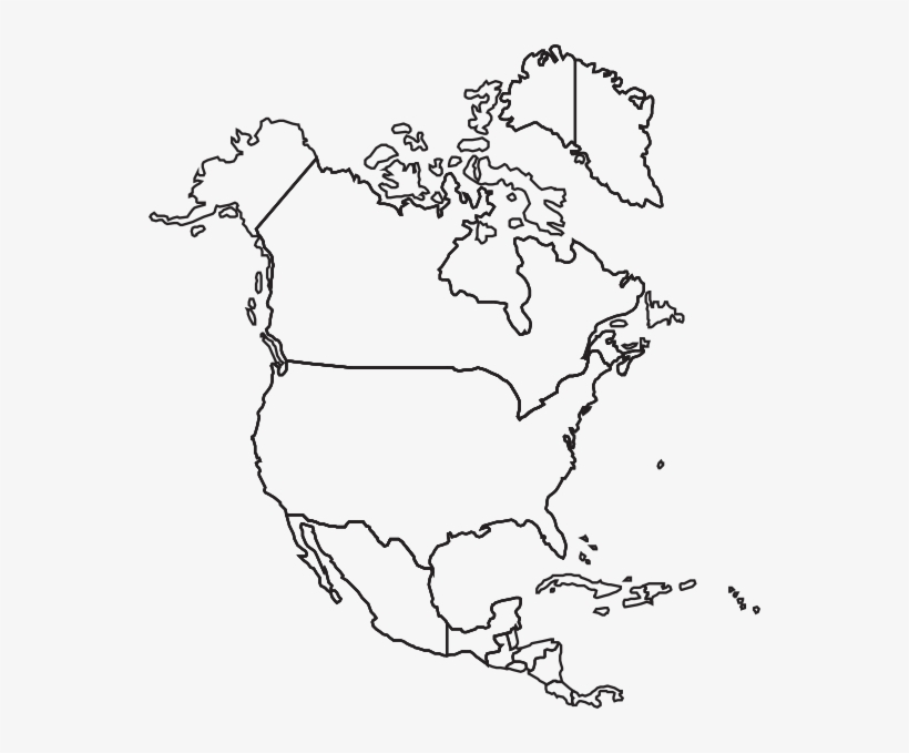 Blank North America Map Printable North America Blank Map   Free Transparent PNG Download
