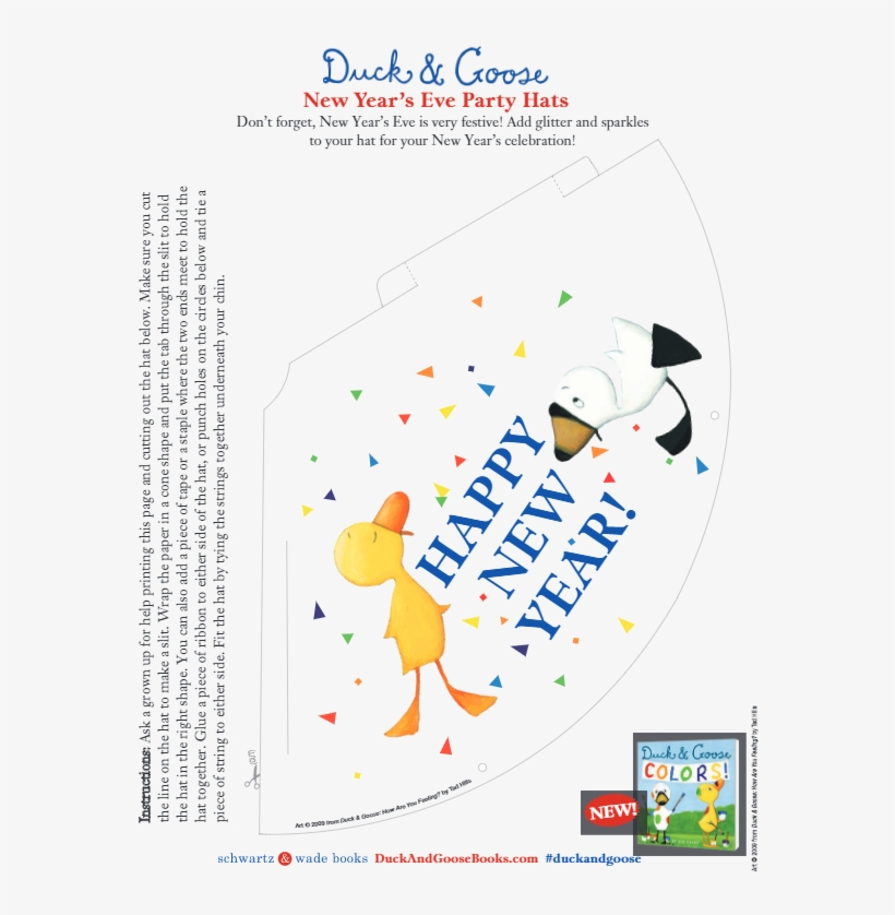 Add Glitter And Sparkles To Your Hat For Your New Year's - Duck & Goose Colors - Board Book, transparent png #4572996