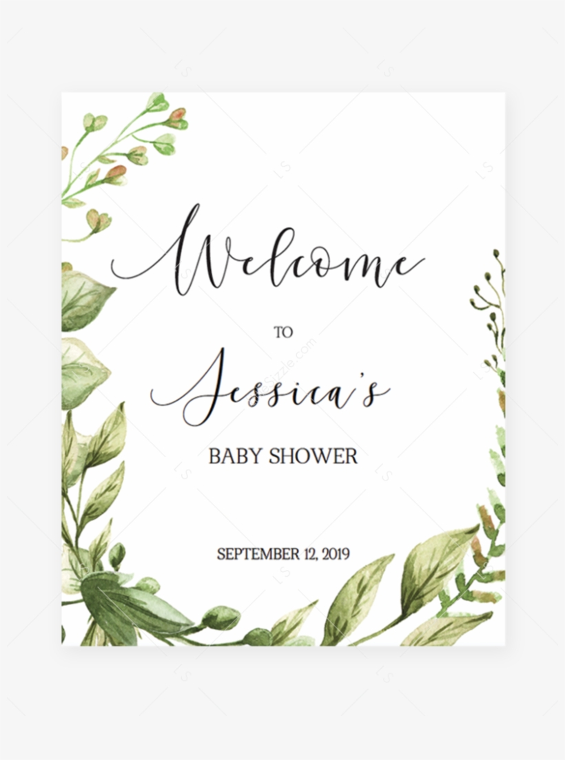 Welcome To Baby Shower Sign Editable Pdf Template Green - Baby Shower, transparent png #4599546