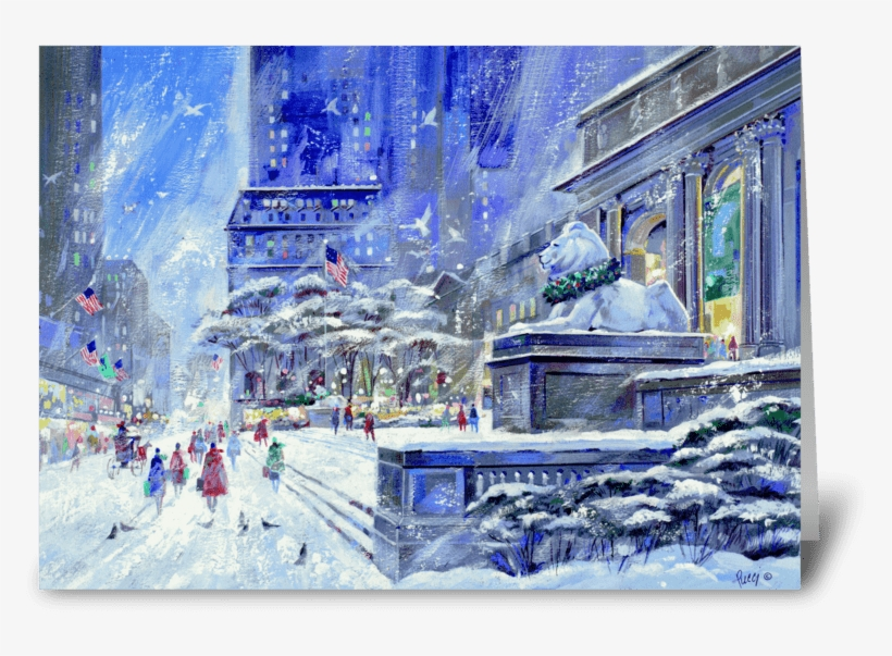 New York Public Library By Albert Pucci Greeting Card - New York City, transparent png #460169