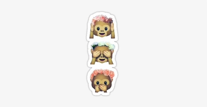 """see No Evil Monkey Emoji Hipster Flower Crown Tumblr - Emoji Wearing Flower Crown, transparent png #465079"