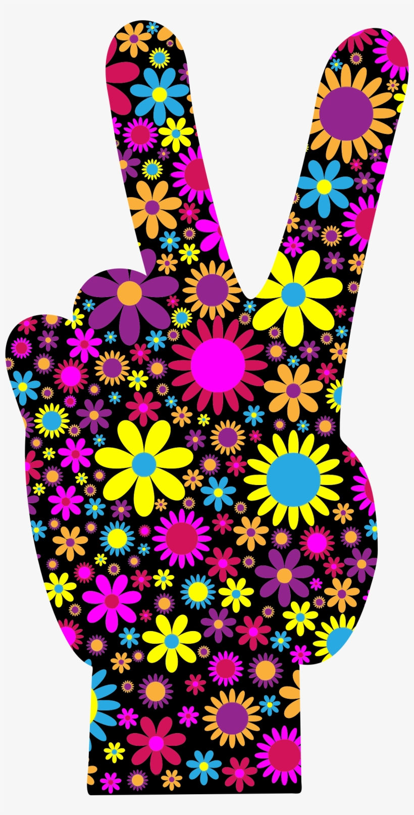 Floral Peace Hand Sign Icons Png - Floral Peace Hand Sign Full/queen Duvet Cover, transparent png #468083