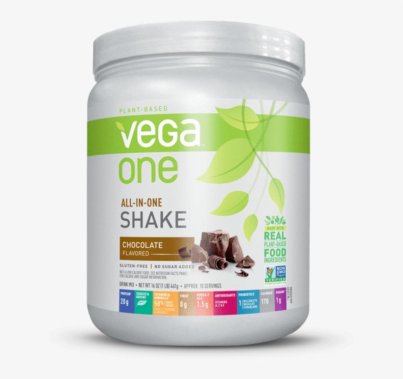 Vega One® All In One Shake - Vega One All-in-one Nutritional Shake, Chocolate, 16, transparent png #4612172