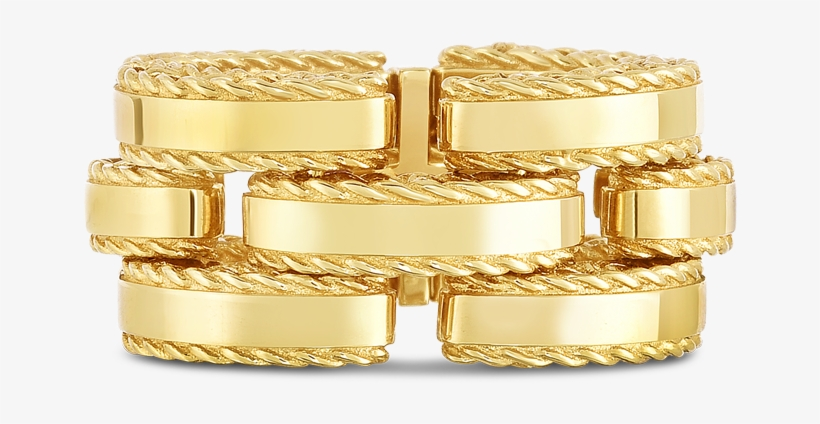 A Side Profile Of A Gold Ring Made By - Roberto Coin Retro Two Tone Diamond Link Ring, transparent png #4620257