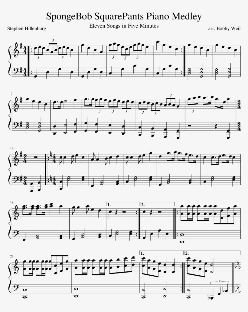 Spongebob Squarepants Piano Medley Sheet Music Composed - Time Inception Sheet Music, transparent png #4635235