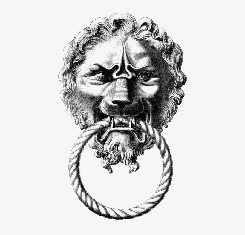 Lion Head Drawing 12, Buy Clip Art - Lion Door Knocker Drawing, transparent png #4636959