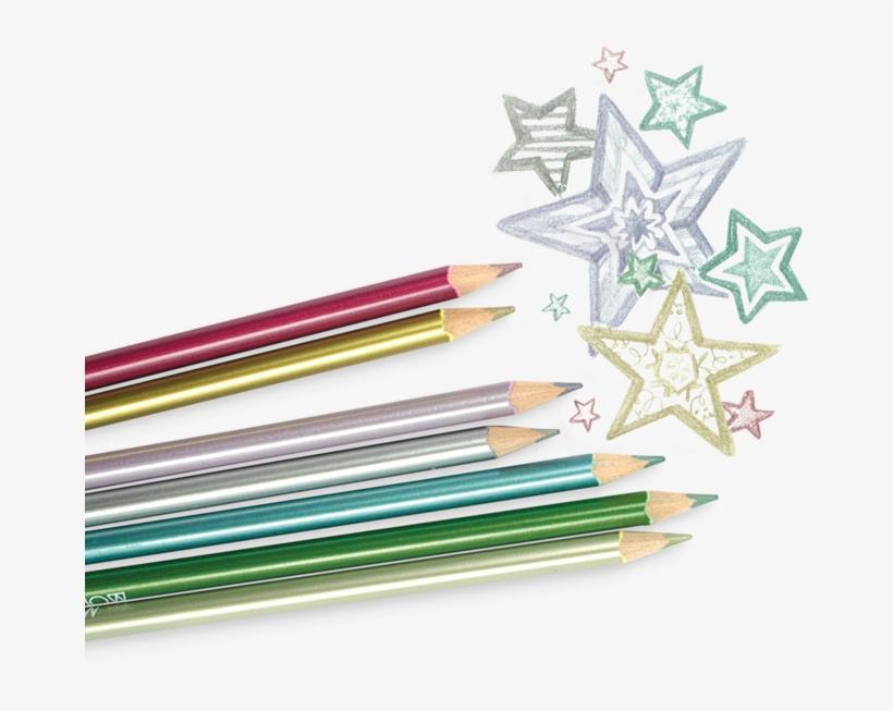 Modern Metallic Colored Pencils - Colored Pencil, transparent png #4646482