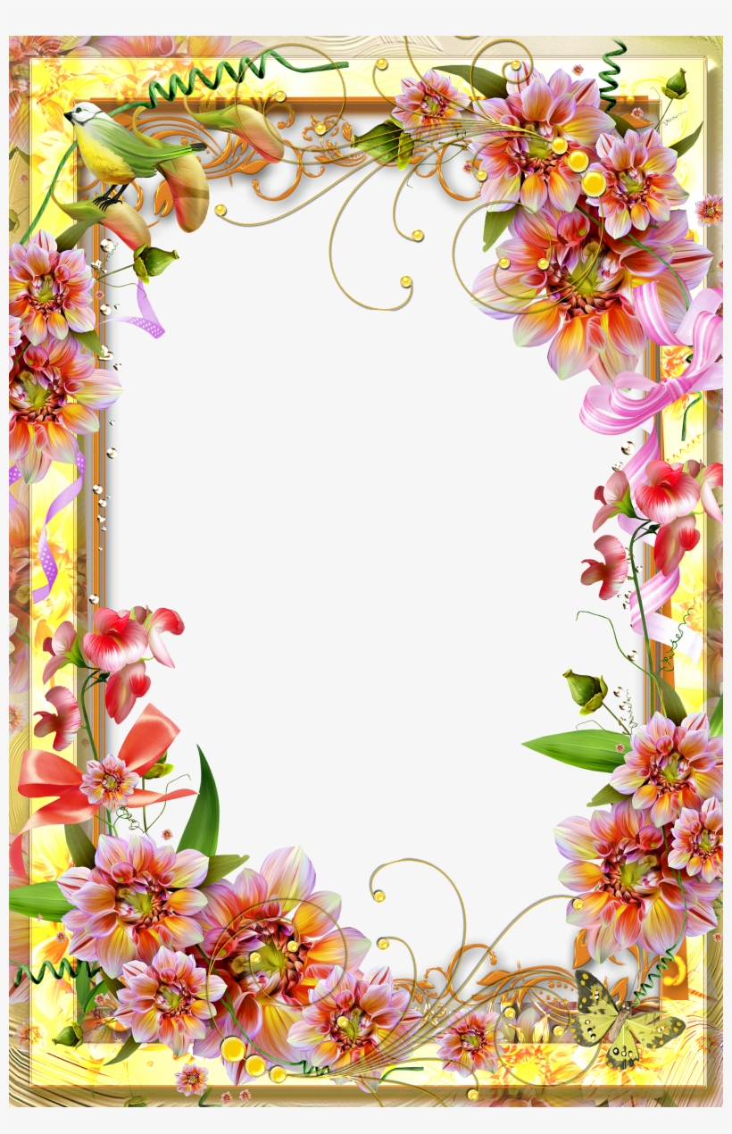 Vibrant Flower Border Page - Page Border Flower Design, transparent png #4647021