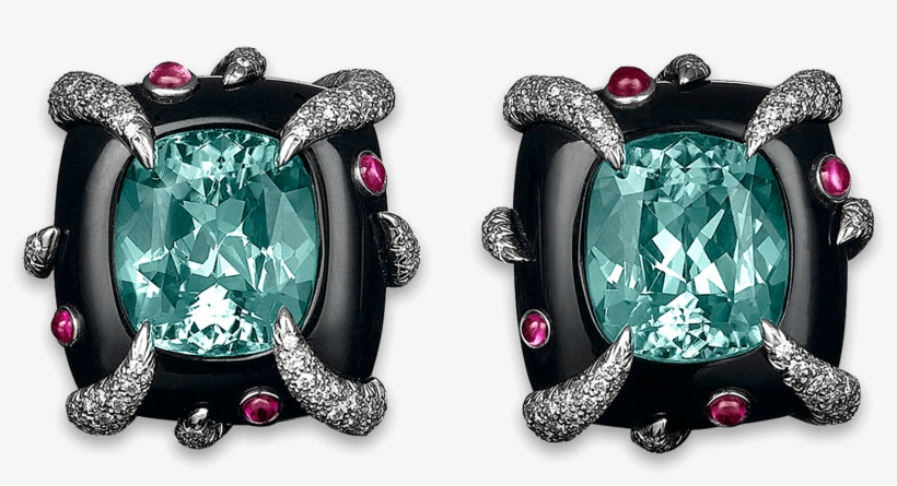 Tiffany & Co - Emerald Diamond And Onyx Earrings, transparent png #4656852