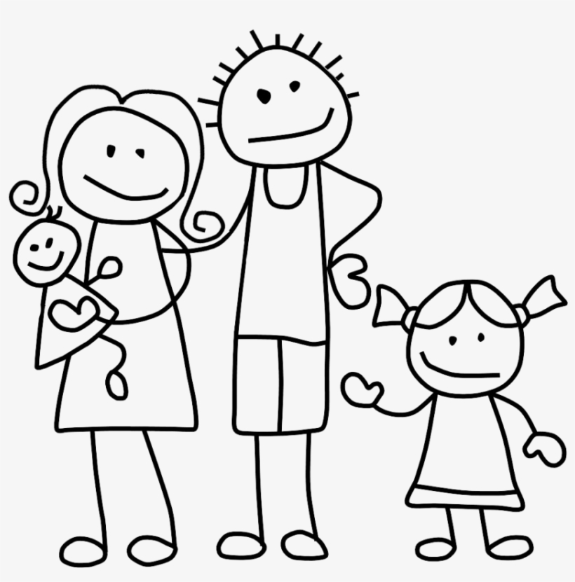 Family Clip Art Black And White - Stick Figure Family Png, transparent png #4669255